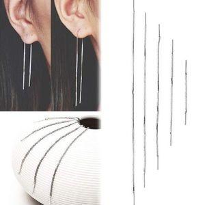 Silver thread earrings 9 cm